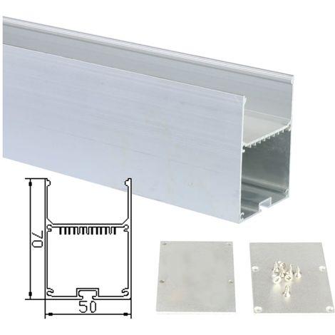 jandei Perfil Aluminio Tira led 2 Metros lampara Colgante 50 * 70mm con Tapa