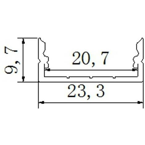 jandei Perfil aluminio tira led 2 metros superficie 23,3 * 9,7mm con tapa