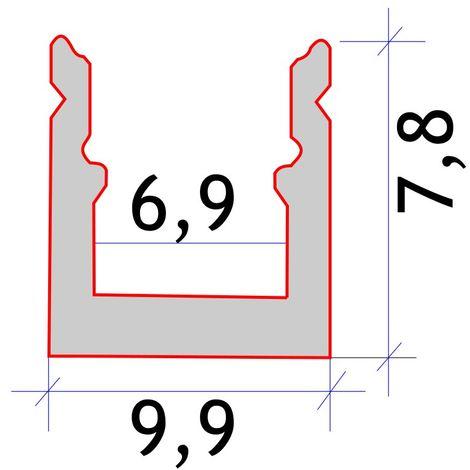 jandei Perfil aluminio tira led 2 metros superficie 9,9x7,8 mm tira 6mm