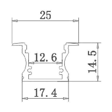 jandei Perfil Aluminio Tira Led 2m Empotrar Suelo, Pared, Tapa Traslúcida