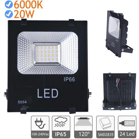 jandei Proyector LED 20W luz blanca fría 6000K exterior negro