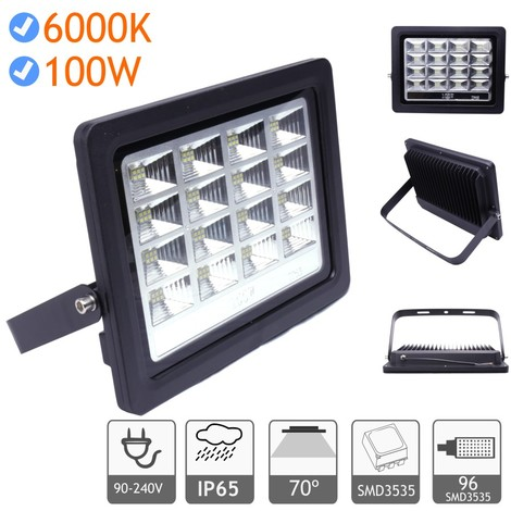 jandei Proyector LED exterior 100W 6000K negro 220V