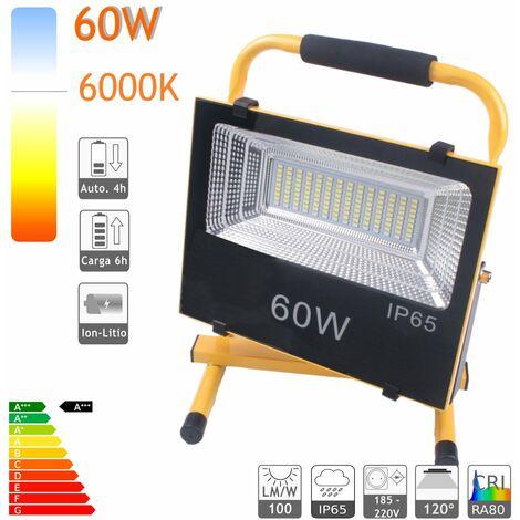 jandei Proyector LED Exterior IP65 Recargable Batería 60W (6000LM) Luz Blanca 6000K Emergencia Salida USB