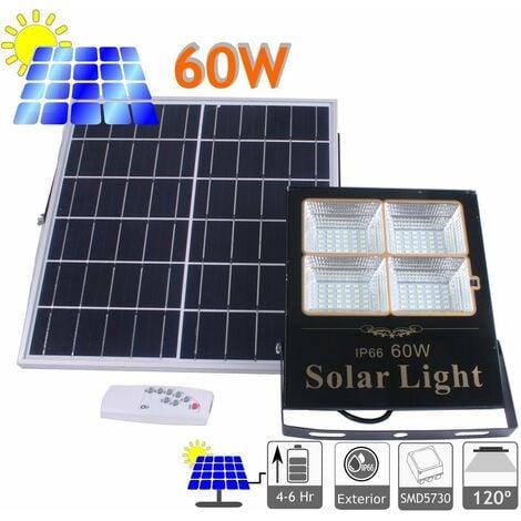 jandei Proyector LED Solar panel solar Orientable Separado, mando A Distancia, 60W, 1375 Lúmenes. Protección Ip65 Exterior. Autonomía 2 Noches. 120 LEDS