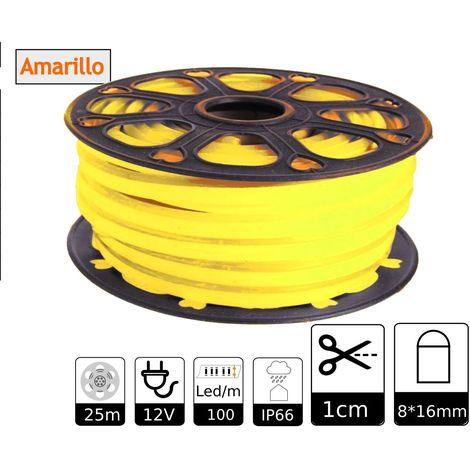jandei Tira LED NEON flexible 25m, Color luz amarillo 12VDC 8 * 16mm, corte 1cm, 12W 100 led/m SMD2835, decoración, formas, cartel led