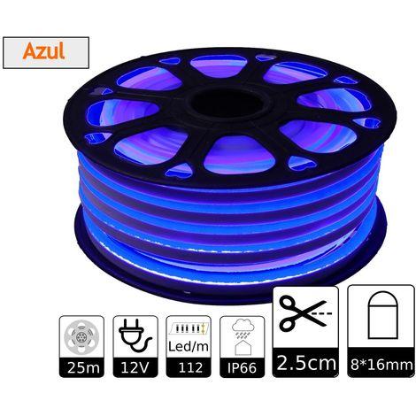 jandei Tira LED NEON flexible 25m, Color luz azul 12VDC 8 * 16mm, corte 2,5cm, 120 led/m SMD2835, decoración, formas, cartel led