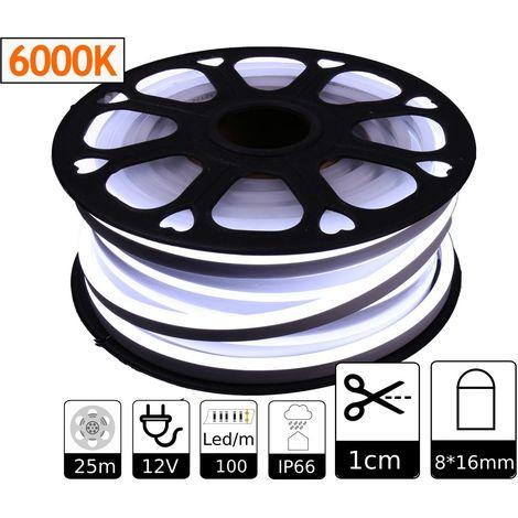 jandei Tira LED NEON flexible 25m, Color luz blanca fria 12VDC 8 * 16mm, corte 1cm, 12W 100 led/m SMD2835, decoración, formas, cartel led
