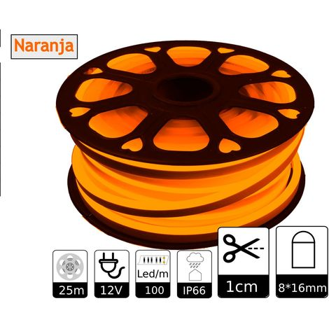 jandei Tira LED NEON flexible 25m, Color luz naranja 12VDC 8 * 16mm, corte 1cm, 12W 100 led/m SMD2835, decoración, formas, cartel led