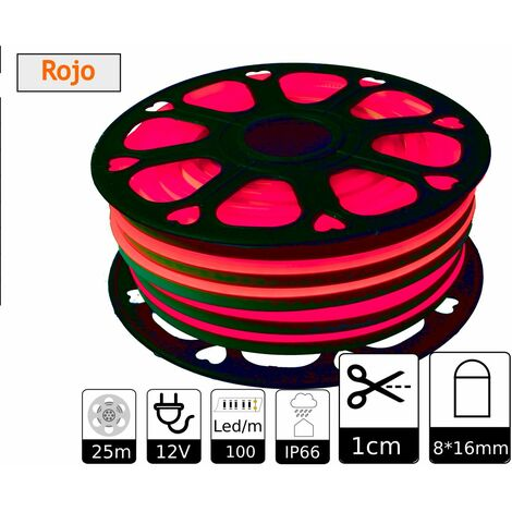 jandei Tira LED NEON flexible 25m, Color luz roja 12VDC 8 * 16mm, corte 1cm, 12W 100 led/m SMD2835, decoración, formas, cartel led