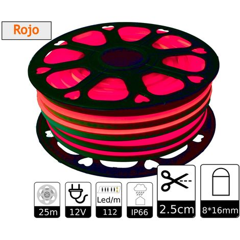 jandei Tira LED NEON flexible 25m, Color luz roja 12VDC 8 * 16mm, corte 2,5cm, 120 led/m SMD2835, decoración, formas, cartel led