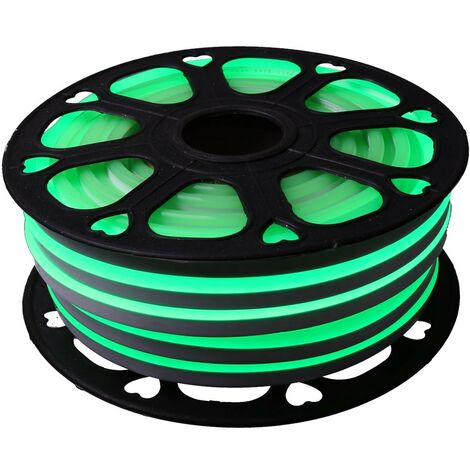 jandei Tira LED NEON flexible 25m, Color luz verde 12VDC 8 * 16mm, corte 1cm, 12W 100 led/m SMD2835, decoración, formas, cartel led