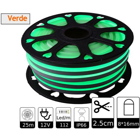jandei Tira LED NEON flexible 25m, Color luz verde 12VDC 8 * 16mm, corte 2,5cm, 120 led/m SMD2835, decoración, formas, cartel led