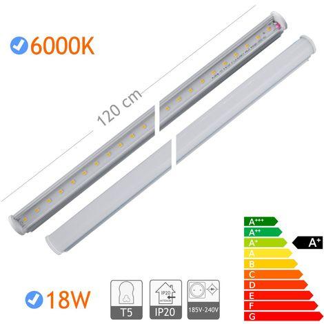 jandei Tubo led tipo T5 fino, 18W 1600 lúmenes, 1200mm largo, blanco 6000K con soportes y cable, conexión lateal 175-265V