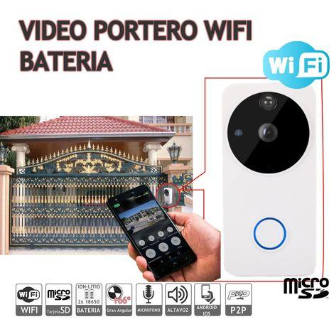 jandei Videoportero Con Vídeo 1080P IP 160º, 6 Meses De Batería, Conexión Wifi Con Detección De Movimiento. Aplicación Para Android IOS P2P