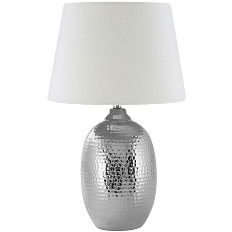 Jane Table Lamp, Chrome Hammered Ceramic, Ivory Shade