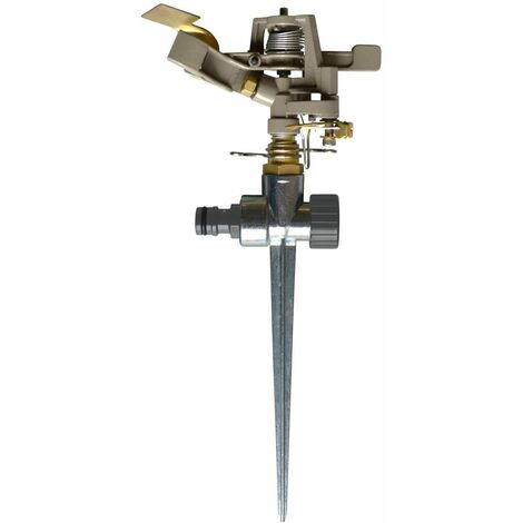 Jardibric Asperseur Arroseur Rotatif 30-360° en métal Brossé sur pic arroseur de grande surface