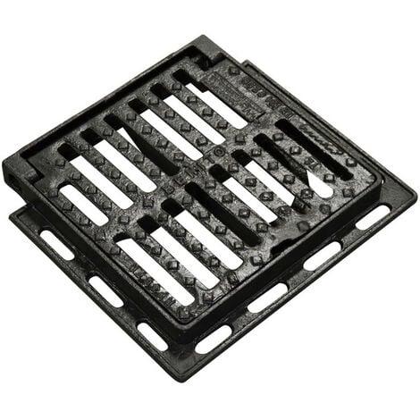 Jardibric - Grille de regard plate, carrée 300 x 300 mm en fonte Classé C250