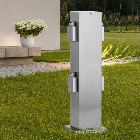 Jardin à quatre prises pilier argent extérieur stand distributeur d'électricité en acier inoxydable 50790000002015