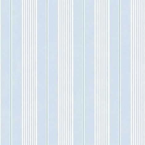 Jardin Chic Blue And White Striped Wallpaper Vintage Retro Style Wallcovering