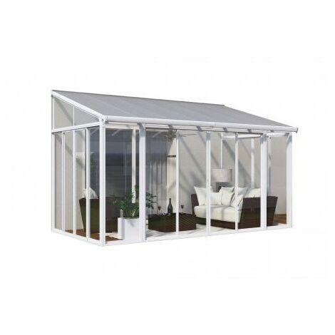 Jardin d'hiver fermé SANREMO VERANDA 3x5,5 - 16 m² - Blanc