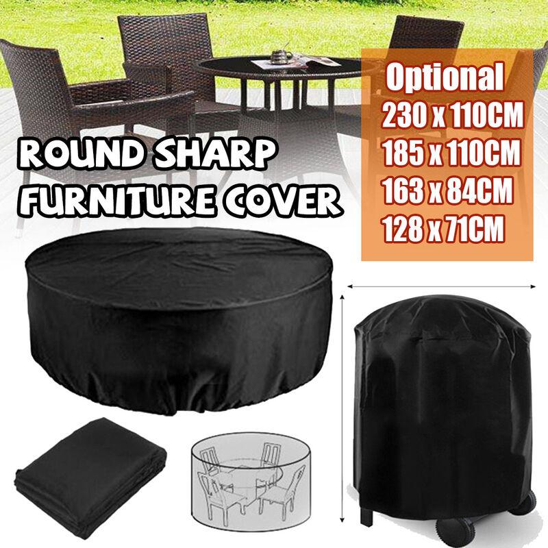 185*110CM Jardin extérieur de couverture de meubles de forme ronde imperméable (185x110CM)