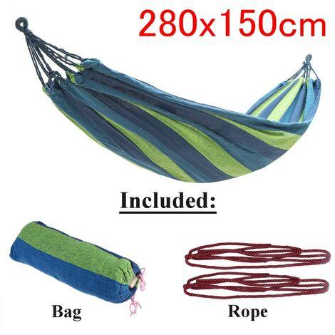 Jardin extérieur Portable Toile Hamac Voyage Camping Balan?oire Chaise Suspendue Lit (Bleu, Type B Hamac (280x150cm))