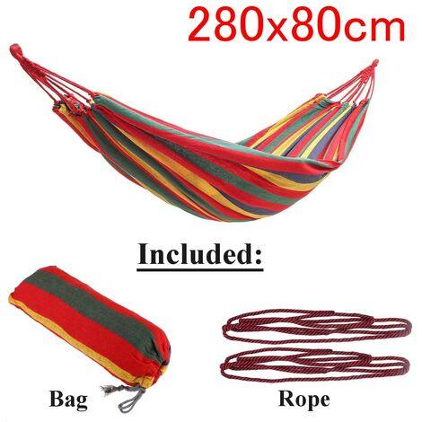 Jardin extérieur Portable Toile Hamac Voyage Camping Balan?oire Chaise Suspendue Lit (Rouge, Type B Hamac (280x80cm))