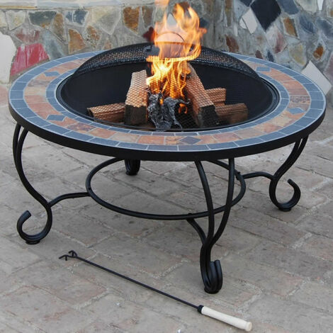 Jardin Patio Table basse Fire Pit avec BBQ, Spark Guard, Poker et Rain Cover