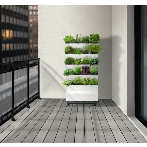 Jardin Potager plantes d'intérieur Vertical Home Garden 5 étages de 4 Compartiments indépendants + goutteur et Une Pompe programmable intégrée Jardibric