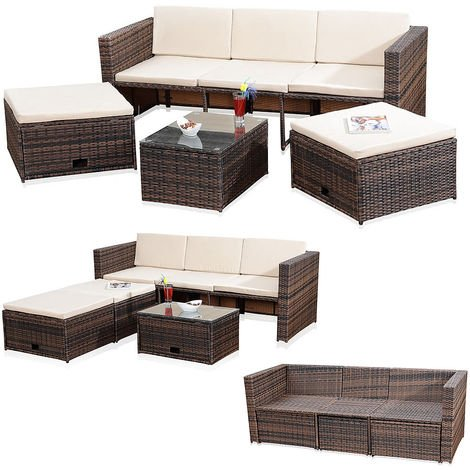 Jardin salon rotin osier mis en salon aménagé canapé table de 2 tabourets brun