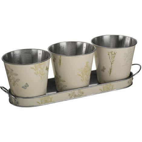 Jardin set of 3 pots on oblong tray,galvanised steel