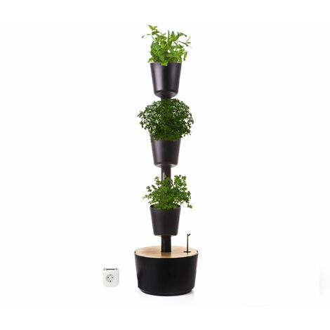 Jardín vertical Aromaticas Citysens color negro 4 macetas