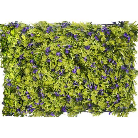 Jardín Vertical Artificial de pared, Cesped y Flores Moradas, Para decoración de Interior y Exterior, 40 x 60 cm - Hogar y Más