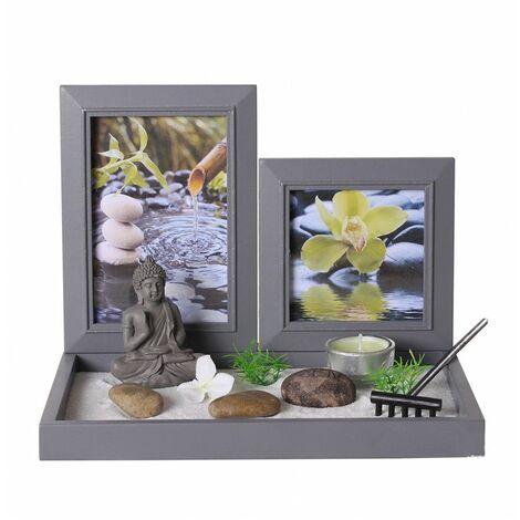 Jardin zen avec 2 cadres photos - 26.5 x 18 x 20 cm