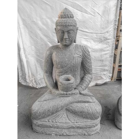 Jardín zen estatua exterior Buda sentado bol ofrenda 120 cm