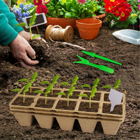 Jardinage et plantation 10 trous plateau papier semis tasse plante étiquette 12 pièces ensemble