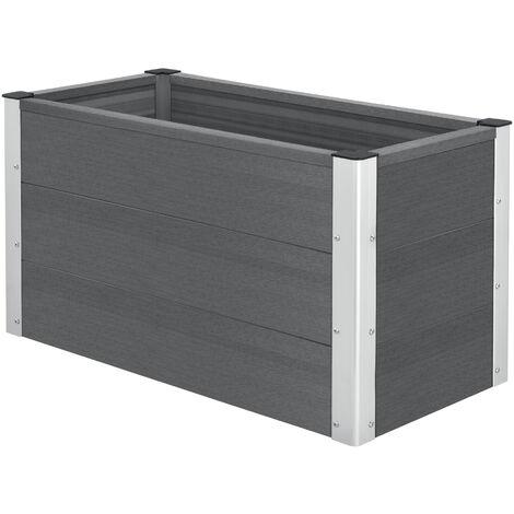 Jardinera - 100 x 50 x 50 cm - Caja para flores o plantas - Maceta - Caja de ventana - Macetero - Para plantar - WPC apariencia de madera - Gris