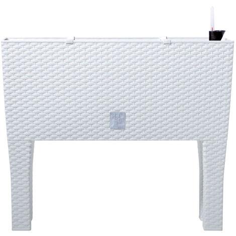 Jardinera alta rectangular 30 litros con autorriego color blanco 60 x 25 x 46 cm con patas