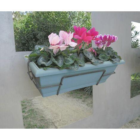 Jardinera balcón azul con soporte metálico Nortene FLORIA 62S