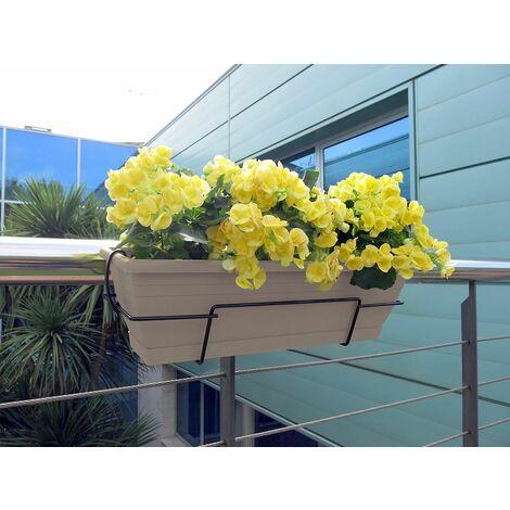 Jardinera balcón beige con soporte metálico Nortene FLORIA 62S
