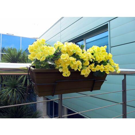 Jardinera balcón chocolate con soporte metálico Nortene FLORIA 60S