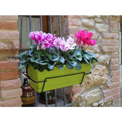 Jardinera balcón pistacho con soporte metálico Nortene FLORIA 50S