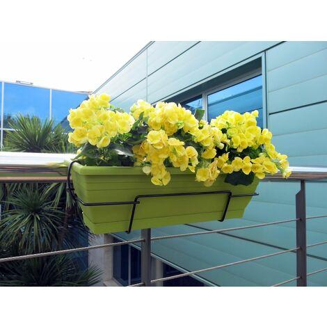 Jardinera balcón pistacho con soporte metálico Nortene FLORIA 62S