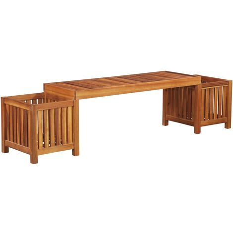 Jardinera banco de jardín madera maciza de acacia 180x40x44 cm