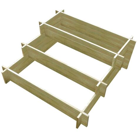 Jardinera con 3 niveles de madera impregnada 90x90x35 cm