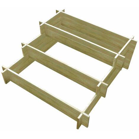 Jardinera con 3 niveles de madera impregnada 90x90x35 cm - Marrón