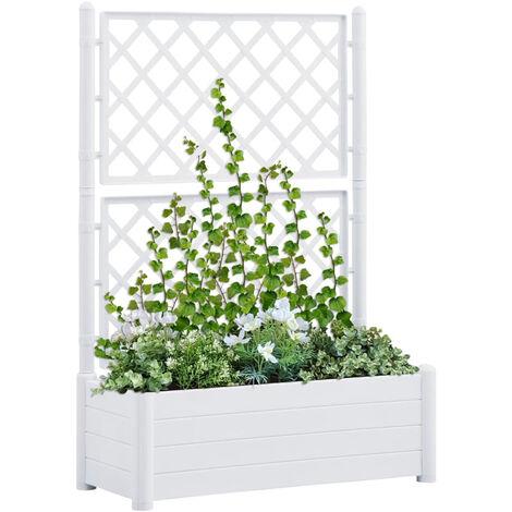 Jardinera con enrejado PP blanca 100x43x142 cm