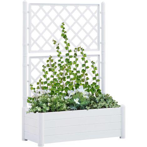 Jardinera con enrejado PP blanca 100x43x142 cm - Blanco
