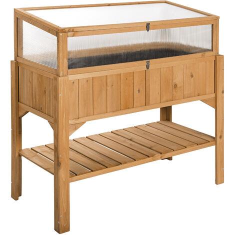 Jardinera con semillero - mueble para jardín en casa, jardinera de madera con espacio de almacenamiento, cajón para huerto urbano en exterior - marrón