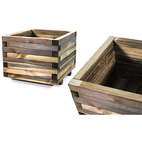 Jardinera cuadrada 50 x 50 x 40 madera tratada
